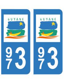 Autocollants plaque immatriculation 973 Guyane