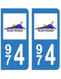 Autocollants plaque immatriculation 974 Réunion