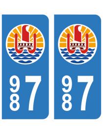 Autocollants plaque immatriculation 987 Polynésie française