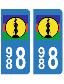 Autocollants plaque immatriculation 988 Nouvelle-Calédonie