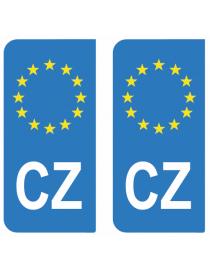 Autocollants plaque immatriculation CZ Tchéquie