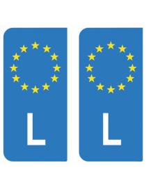 Autocollants plaque immatriculation L Luxembourg