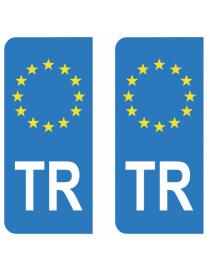 Autocollants plaque immatriculation TR Turquie