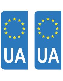 Autocollants plaque immatriculation UA Ukraine