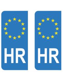 Autocollants plaque immatriculation HR Croatie
