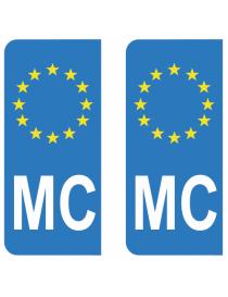 Autocollants plaque immatriculation MC Monaco