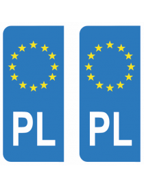 Autocollants plaque immatriculation PL Pologne