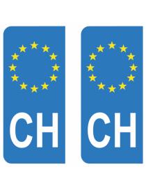 Autocollants plaque immatriculation CH Suisse