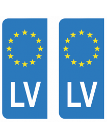 Autocollants plaque immatriculation LV Lettonie