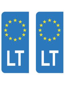 Autocollants plaque immatriculation LT Lituanie