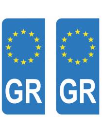 Autocollants plaque immatriculation GR Grèce