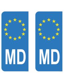 Autocollants plaque immatriculation MD Moldavie