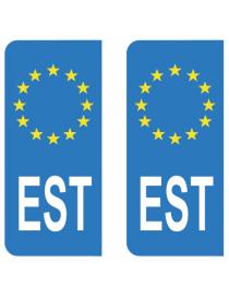 Autocollants plaque immatriculation EST Estonie
