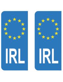 Autocollants plaque immatriculation IRL Irlande