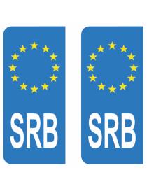 Autocollants plaque immatriculation SRB Serbie