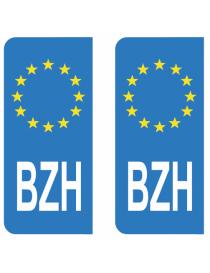Autocollants plaque immatriculation BZH Bretagne