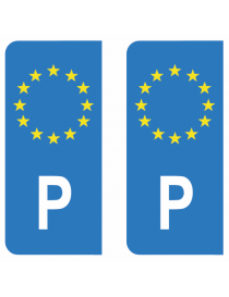 Autocollants plaque immatriculation P Portugal