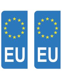 Autocollants plaque immatriculation EU Union Européenne