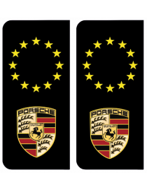 Autocollants plaque immatriculation Porsche Europe noir