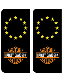 Autocollants plaque immatriculation Harley davidson Europe
