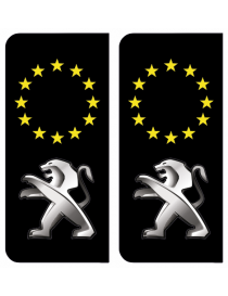 Autocollants plaque immatriculation Peugeot Europe