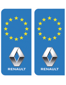 Autocollants plaque immatriculation Renault Europe