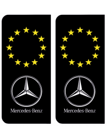Autocollants plaque immatriculation Mercedes Europe noir