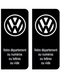 Autocollants plaque immatriculation Volkswagen noir