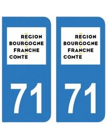 Autocollants plaque immatriculation 71 Saone et Loire