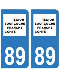 Autocollants plaque immatriculation 89 Yonne