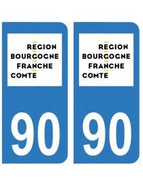 Autocollants plaque immatriculation 90 Territoire de Belfort