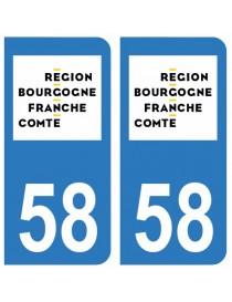 Autocollants plaque immatriculation 58 Nièvre
