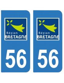 Autocollants plaque immatriculation 56 Morbihan