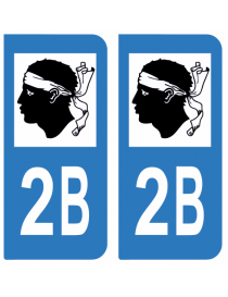 Autocollants plaque immatriculation 2B Haute Corse