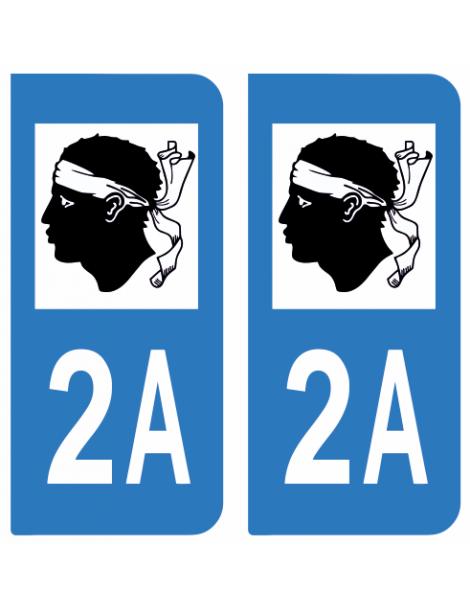 Autocollants plaque immatriculation 2A Corse du Sud