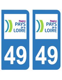 Autocollants plaque immatriculation 49 Maine et Loire