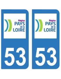 Autocollants plaque immatriculation 53 Mayenne