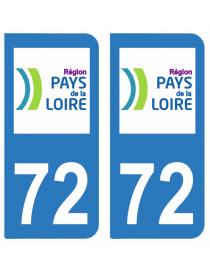 Autocollants plaque immatriculation 72 Sarthe