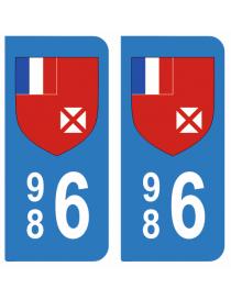 Autocollants plaque immatriculation 986  Wallis-et-Futuna