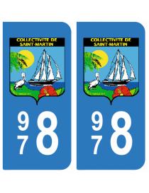Autocollants plaque immatriculation 978 Saint Martin