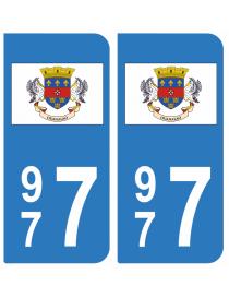 Autocollants plaque immatriculation 977 Saint Barthélémy
