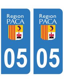 Autocollants plaque immatriculation 05 Haute Alpes
