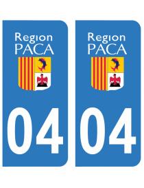 Autocollants plaque immatriculation 04 Alpes Haute Provence