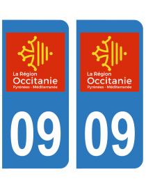 Autocollants plaque immatriculation 09 Ariège