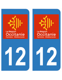 Autocollants plaque immatriculation 12 Aveyron