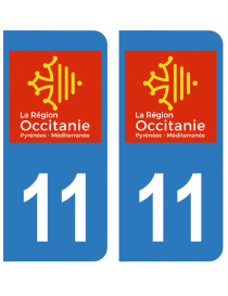 Autocollants plaque immatriculation 11 Aude