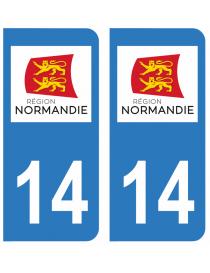 Autocollants plaque immatriculation 14 Calvados