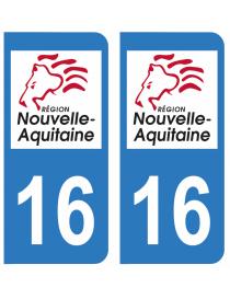 Autocollants plaque immatriculation 16 Charente