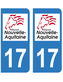 Autocollants plaque immatriculation 17 Charente Maritime