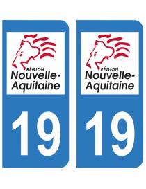 Autocollants plaque immatriculation 19 Corrèze